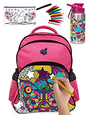 Large Color In Backpack for Girls with 10 Vibrant Coloring Markers, a Color-in Water Bottle and a Color-in Pencil Case - Amazing Value in this Creative Heavy Duty Back to School Backback for Kids Kit! from