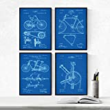 Nacnic Azul - Pack de 4 láminas con Patentes de Bicicletas 2. Set de Posters con inventos y Patentes...