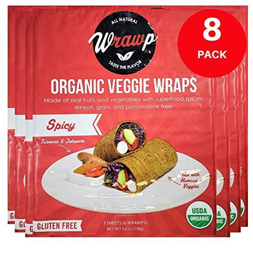 WrawP Spicy Veggie Wraps 8 Pack Raw Organic Veggie Wrap Flatbread | Wheat-Free Gluten Free Paleo Wraps Non-GMO Vegan Friendly Plant-Based Sustainable Made in the USA