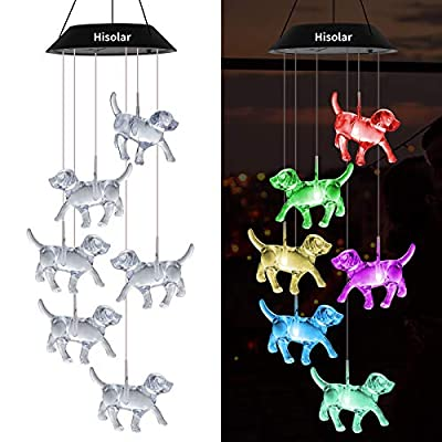HiSolar Crystal Dog Solar Wind Chimes Light Color Changing Solar Mobile LED Solar Powered Wind Chimes for Home Party Yard Garden Decor,Gifts for mom Birthday Gifts