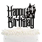 Cartoon Happy Birthday Cake Topper - Spooky Haunted House Black...