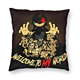 Adult/Child Exquisite Square Throw Pillow Cases, All Seasons Halloween & Cup-Head Multi Code Throw Pillow Covers for Indoor Outdoor Decorative Accent Sofa Bed 16'X16'