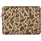 MOSISO Laptop Sleeve Compatible with 13-13.3 inch MacBook Pro, MacBook Air, Notebook Computer, Polyester Vertical Pattern Bag with Pocket, Brown Giraffe Spots