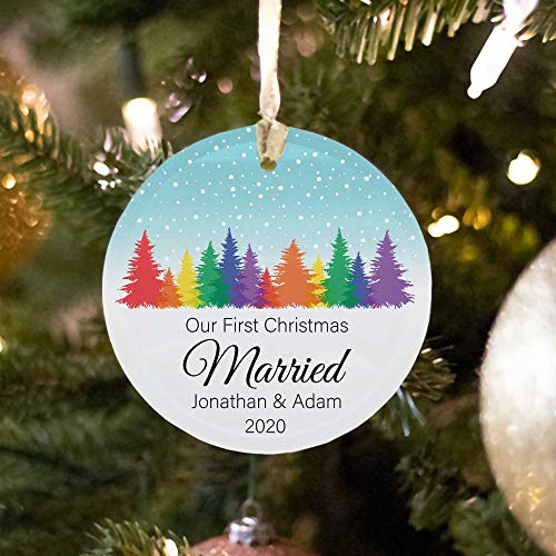 Lplpol LGBTQ Married Couple Custom Ornament Gay Wedding Same-Sex Couple Gay Engagement Ornament Newlywed Present Our First Christmas Married
