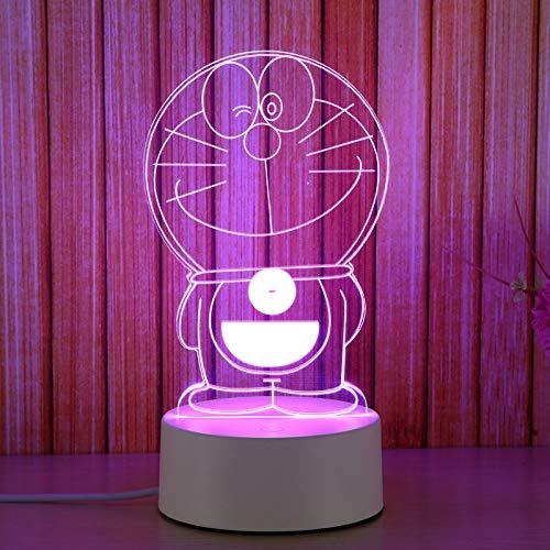 Luce di notte led lampada da comodino 3D piccola lampada da tavolo camera da letto plug-in alimentazione regalo di compleanno per la fidanzata fidanzate creative Doraemon (sette touch)
