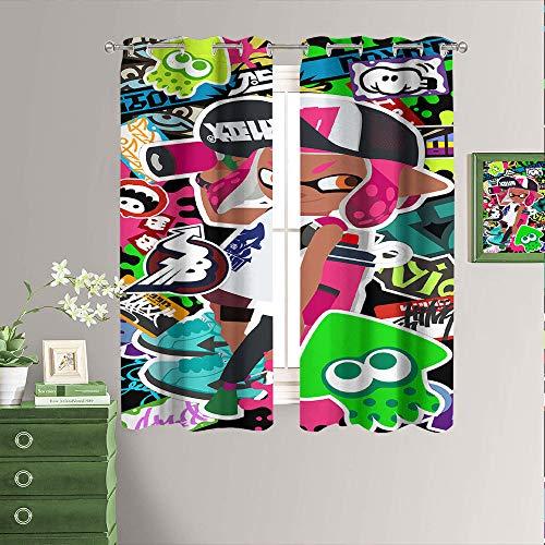 Cortinas decorativas con estampado Splatoon 2 videojuego con aislamiento térmico con ojales en la parte superior y cortinas opacas para sótano 2014 cm de ancho x 2014 cm de largo
