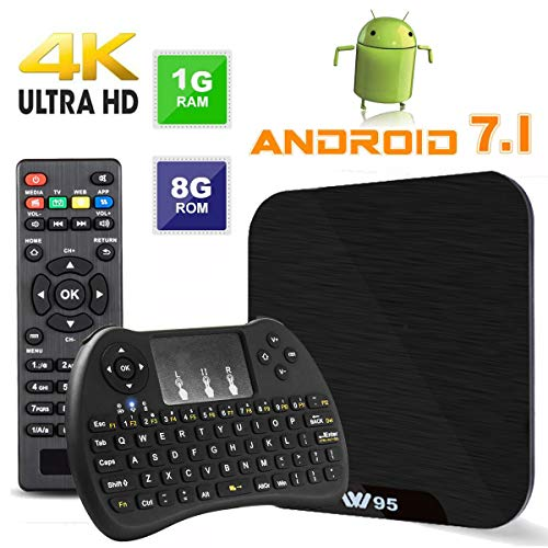 TV Box Android 7.1 - VIDEN W1 Smart TV Box Amlogic Quad Core, 1GB RAM & 8GB ROM, 4K*2K UHD H.265, HDMI, USB*2, 2.4GHz WiFi, Web TV Box, Android Set-Top Box, + 2 en 1 Ratón y Teclado
