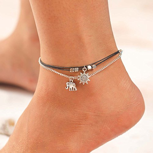Simsly Beach Sunflower Elephant Anklet Ankle Bracelet Foot Jewelry Accessories Adjustable for Women and Girls (Silver/Black)