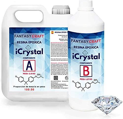 I-CRYSTAL RESINA EPOXI 3,2 Kg. Para Manualidades y arte, encapsulados, mejor calidad/precio, resina de curado mas rápido que las standards