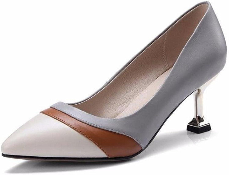 GAOGENX Frauen Schuhe aus echtem Leder Kitten Heel Pumps Mischfarbe Gre 35 bis 39, EU36