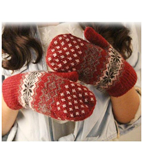 Cheapest Prices! Cher9 Winter Warm Knitted Gloves, Christmas Jacquard Mittens Women Snowflake Glov...
