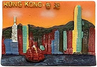 香港3D冷蔵庫用マグネット、観光用お土産、観光用アトラクション冷蔵庫用マグネット、オレンジ色のクリエイティブホームとキッチンの装飾