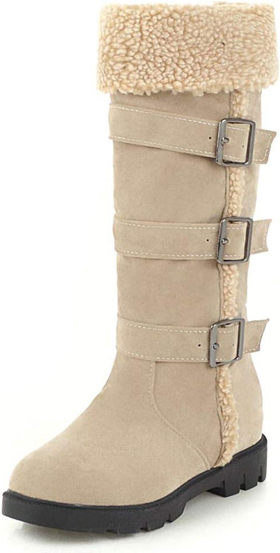 DoraTasia Women's Winter Lambswool Buckle High Boots Flat High Knee High Snow Boots