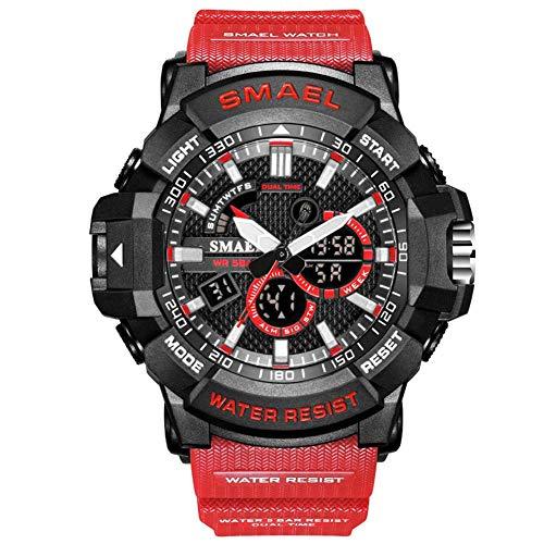SMAEL Reloj Deportivo Digital Multifuncional, Impermeable, Luminoso, De Doble Pantalla, Reloj Militar, con Gran Cara, para Hombre Y Niño,Rojo