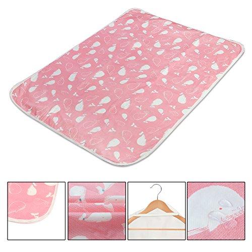 2 Stück Wasserdicht Wickelunterlage für Babys und Kleinkinder - Atmungsaktiv, Waschbar, Wiederverwendbare Urin Matte Abdeckung Rosa (Walmuster, L - 60 x 75 cm)