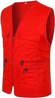 Mens Summer Outdoor Cargo Full Zip Fleece Outerwear Travel Vest Workwear