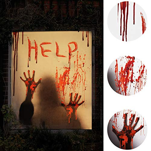 ALUCKY Halloween Window Cover, Halloween Decorations Indoor Party Bloody Curtain, Door Cover, Halloween Scary