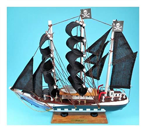 Rahlf Segelschiff dreimaster Pirat 23 x 22 Schwarze Segel Schiff Maritim Meer See Ozean Figur Deko 39.4637