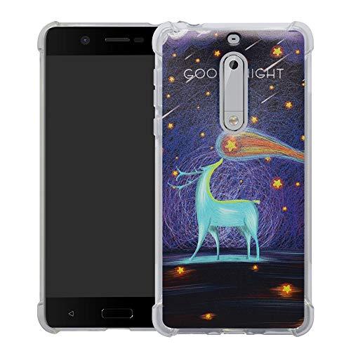 HHDY Nokia 5 2017 Funda, Pintura Ultrafina Suave TPU Silicona Diseño de Bumper Cojín de Aire Protección Cover para Nokia 5 2017,Deer & Starry