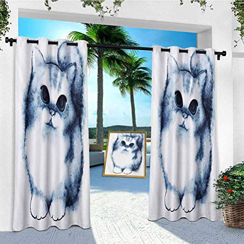 outdoor curtains light filtering, Cute Kitty Paint with Distressed Color Features Fluffy Cat Best Companion Ever, 1 Panel 108 inches long outdoor curtains for porch waterproof, Grey White