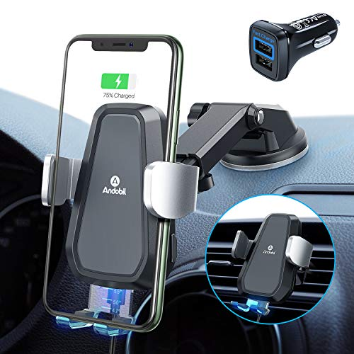andobil Wireless Car Charger Mounts with 30W QC3.0 Adapter, Qi Quick Charging Automatic Clamp Air Vent + Dashboard Stable Car Phone Holder for iPhone 11/11 Pro/11 Pro Max/XR 8, Samsung S20/S10/S9/S8