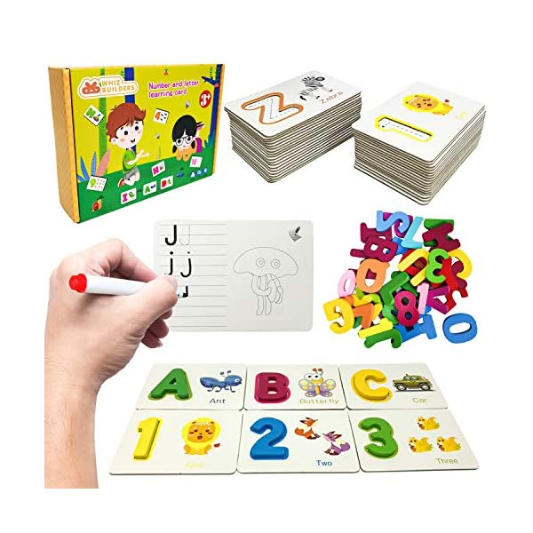 Alphabet Flash Cards Games with Wooden Number ABC Letters for Toddlers & Kids All Ages & Years Olds – Homeschool Educational Kindergarten Preschool Learning Animal Flashcards Toys Puzzle Materials