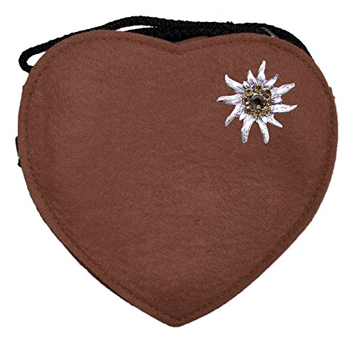 Herz Trachtentasche mit Edelweiß Braun