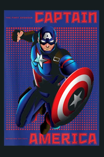Marvel Captain America Halftone Pop Art Poster: Notebook Planner - 6x9 inch Daily Planner Journal, To Do List Notebook, Daily Organizer, 114 Pages
