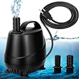 AQQA 265-920GPH Aquarium Submersible Water Pump with 2 Nozzles, Fountain Pump for Water Removal and Drainage Sump Cleaning for Aquarium, Pond, Fish Tank, Hydroponics, Backyard (20W)
