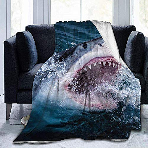 Wobuzhidaoshamingzi Shark in The Lake deken van molton, ultrazacht, flanel, velours, Plush Throw