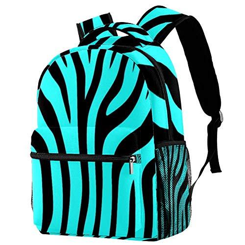 Zebra Print Blue Mochila Mochila escolar Bolsa de libro Casual Daypack para viajes, motivo 1, Talla única, Mochila de a diario