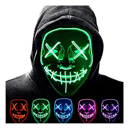 Anxicer LED Maske Purge Party Leucht Maske für Karneval,Grusel and Interessant,3 Steuerbare Verschiedene Blinkmodi,Gelten für Karneval Halloween Cosplays Feste und Carnival Partys