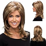 GNIMEGIL Trendy Short Blonde Wig Shoulder length Wig Layered Natural Straight Wig Synthetic Hair Daily Use Cosplay Halloween Party for Women