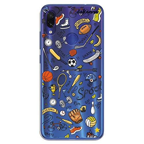 dakanna Funda para [Xiaomi Redmi Note 7] de Silicona Flexible, Dibujo Diseño [Pattern Figuras Deportivas, Tenis, Bicicleta, Futbol, Baloncesto y Gimnasio], Color [Fondo Transparente]