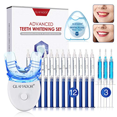Teeth Whitening Kit with LED Light, GLAMADOR Professional Dental Teeth Whitener with 12pcs Whitening Gel, 3 Soothing Gel, Sensitive Direct Tooth Whitener Safety Use for Home and Travel