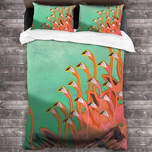 Affresco dei fenicotteri 100% lavato 3 pezzi biancheria da letto, semplice casa tessile camera da letto decorazione 86 'X 170'