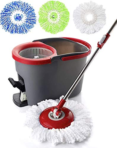 Simpli-Magic Spin Cleaning System with 3 Microfiber Mop Heads, Standard