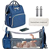 Baby Nappy Changing Bag Backpack for Mom Dad, Multifunction Travel Baby Cot Bed
