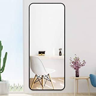 "PexFix Full Length Mirror, 48"" x 18"" Modern Floor Mirror Wall Mirror Solid Aluminum Alloy Frame Stylish Round Corner Design Dressing Mirror Hanging Leaning Mirror - Black"