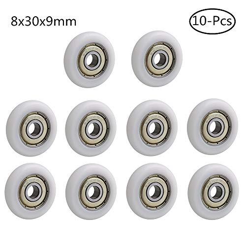 Stillshine 10-Pcs kogellagerrollen voor glazen deur/douchedeur/douchecabines roller/rolgeleider en wielen (8x30x9mm)