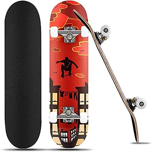 FONTE Skateboard, Komplettboard 31 x 8 Zoll für Kinder Jugendliche Erwachsene Anfänger, 7 Lagiger kanadischen Ahorn mit ABEC-7-Kugellagern hochelastischen PU-Rädern bis 110Kg unterstützt(Rot)