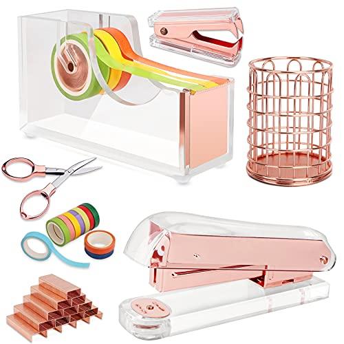 Rosegold Office Stapler Set, Desk Accessory Kit Includes Stapler Heavy Duty...