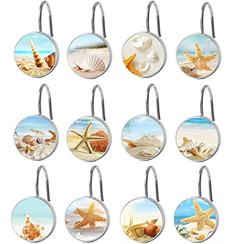 Shower Curtain Hooks Rings,Stainless Steel Seashell Starfish Decorative Shower Curtain Hooks Set of 12 Rust Proof Shower Hooks for Bathroom Decor,Curtain and Liner