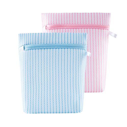 洗濯ネット 洗濯袋 ランドリーネット 型崩れ防止 2枚 洗濯バッグ 子供 大人 家庭 旅行ネット 収納 ピンク/ブルー