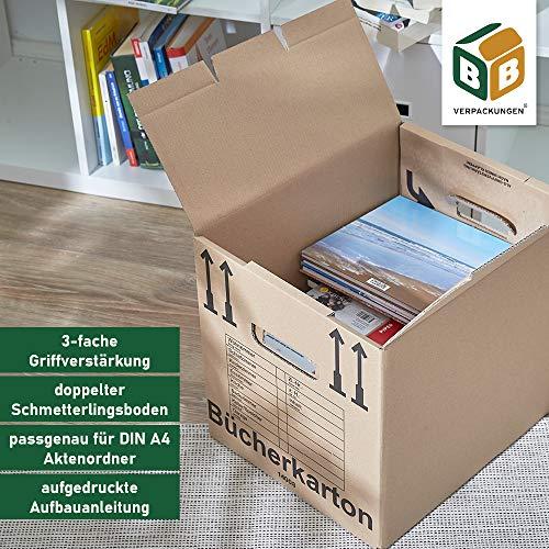 BB-Verpackungen Bücherkartons, 25 Stück, Basic 400 x 330 x 340 mm Bücher Kiste Umzug Karton Box Transport Verpackung - 8