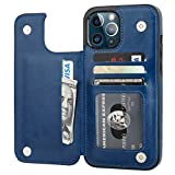 ONETOP Compatible with iPhone 12 Pro Max Wallet Case with Card Holder,PU Leather Kickstand Card Slots Case, Double Magnetic Clasp and Durable Shockproof Cover 6.7 Inch(Blue)