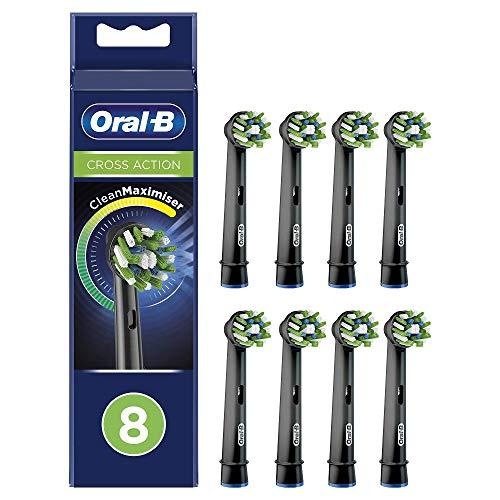 Oral-B CrossAction Cabezales de Recambio Tamaño Buzón, Pack de 8 Recambios Negros Originales con Tecnología CleanMaximiser para Cepillos de Dientes Eléctricos