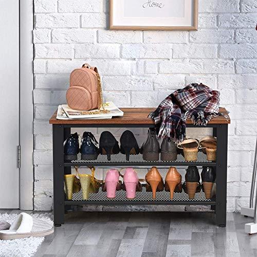 GOTOTOP Banco zapatero con 3 estantes, zapatero para 8 pares de zapatos, organizador de zapatos para salón, pasillo, metal, estilo industrial, marrón vintage y negro