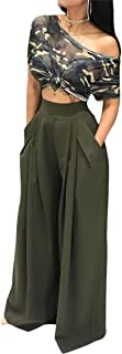Women's Stretchy Solid Color High Waisted Wide Leg Palazzo Pants with Pockets
