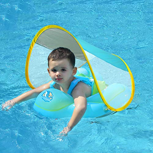 Free Swimming Baby Inflatable Baby Swimming Float with Safe Bottom Support and Retractable Canopy for Safer Swims (New Version, L)